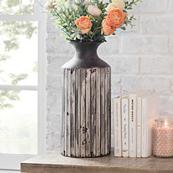 Dark Gray Ribbed Metal Vase