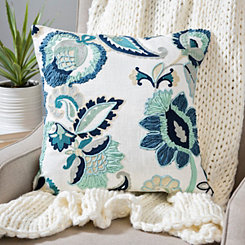 Blue Clara Embroidered Floral Pillow