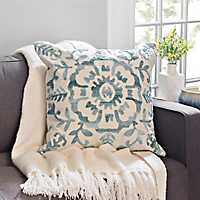 Claudia Seafoam Chenille Embroidered Pillow