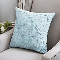 Washed Cotton Embroidered Seafoam Pillow