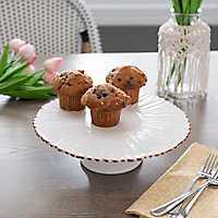Cream Embossed Flower Cake Plate