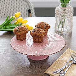 Pink Embossed Flower Cake Plate