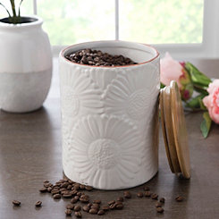 Cream Embossed Flowers Canister