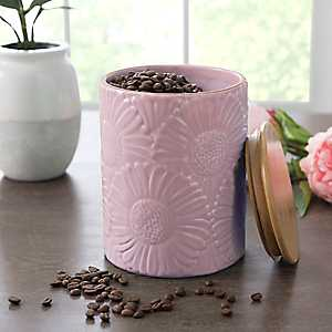 Pink Embossed Flowers Canister