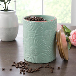 Turquoise Embossed Flowers Canister