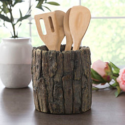 Dark Wood Bark Utensil Holder