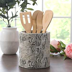 Light Wood Bark Utensil Holder