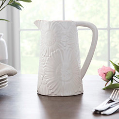 Cream Embossed Flowers Pitcher