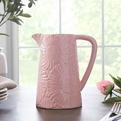 Pink Embossed Flowers Pitcher