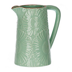 Turquoise Embossed Flowers Pitcher