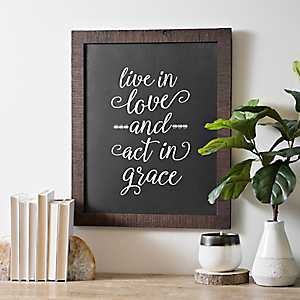 Live in Love Act in Grace Framed Wall Plaque