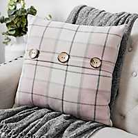 Raven Rose Smoke Plaid Pillow