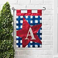 Blue Check Monogram A Flag Set