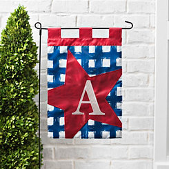 Blue Check Monogram A Flag Set