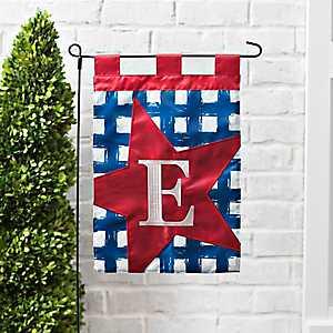 Blue Check Monogram E Flag Set