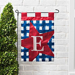 Blue Check Monogram E Flag Set