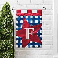 Blue Check Monogram F Flag Set