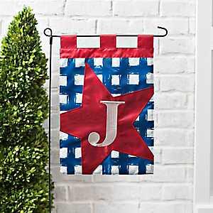 Blue Check Monogram J Flag Set
