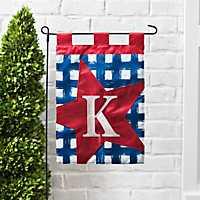 Blue Check Monogram K Flag Set