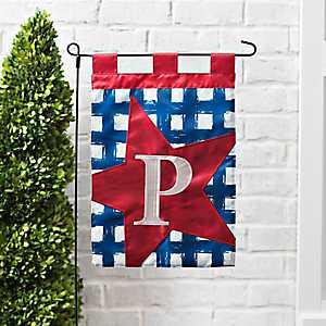 Blue Check Monogram P Flag Set