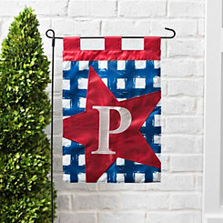 Blue Check Monogram P Flag Set