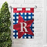 Blue Check Monogram R Flag Set