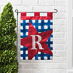 Blue Check Monogram R Flag Set