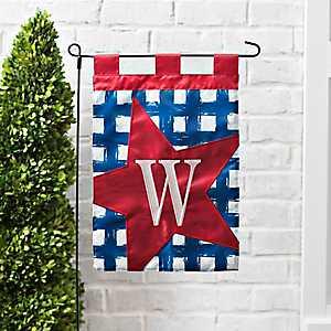 Blue Check Monogram W Flag Set