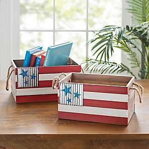 Americana Wooden Baskets, Set of 2
