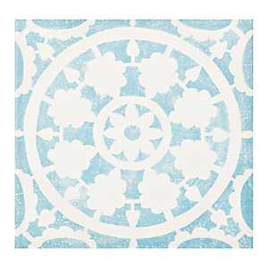 Blue Tile Outdoor Canvas Art Print