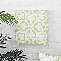 Green Tile Outdoor Canvas Art Print