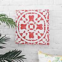Red Tile Outdoor Canvas Art Print