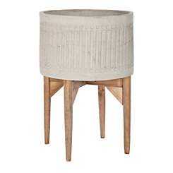Concrete Planter with Wood Stand