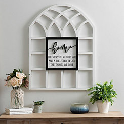 White Home Wood Arch Plaque