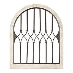 Wood and Metal Tower Arch Wall Plaque