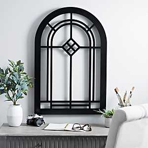 Black Wood Arch Window Wall Plaque