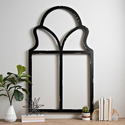 Black Sophia Paned Arch Wood Wall Plaque