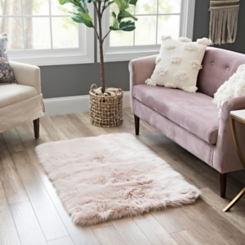 Blush Aspen Faux Fur Rug