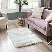 Gray Aspen Faux Fur Rug