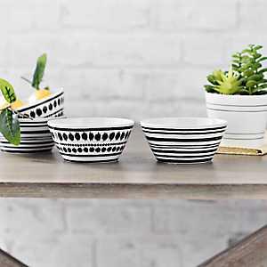 Black and White Art Print Bowls, Set of 4
