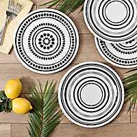 Black and White Art Print Dinner Plates, Set of 4