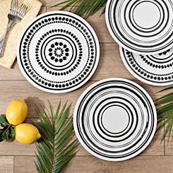 Black and White Art Print Dinner Plates, Set of 4