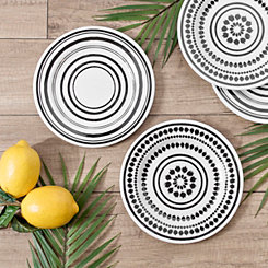 Black and White Art Print Salad Plates, Set of 4
