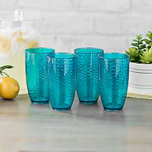 Hammered Turquoise Tumblers, Set of 4