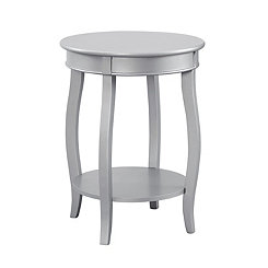 Silver Round Wooden Accent Table