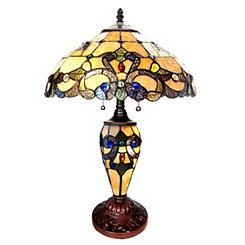 Ivory Magna Carta Stained Glass Table Lamp