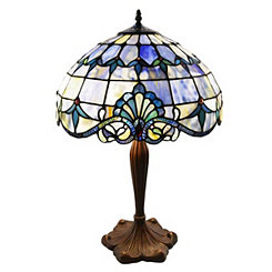 Blue Allistar Stained Glass Table Lamp