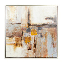 Abstract Brown Blocks Framed Canvas Art Print