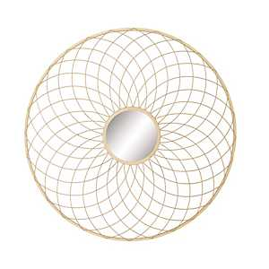 Curved Linear Gold Metal Wall Mirror