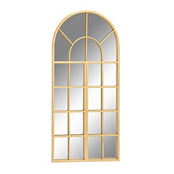 Gold Arch Window Paned Wall Mirror